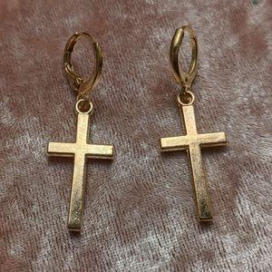 Gold/Bronze Cross Earrings